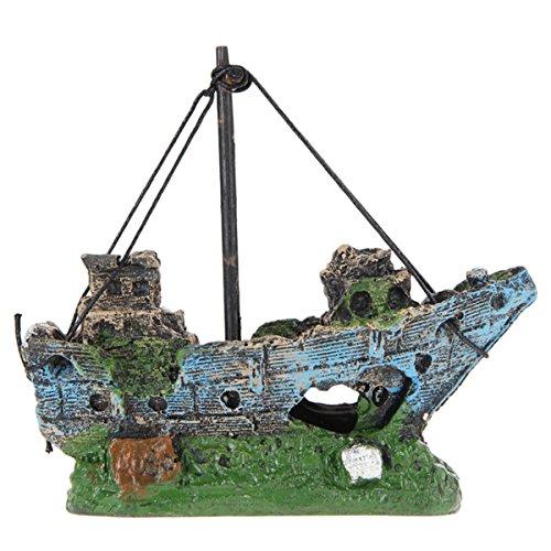 M2cbridge Aquarium Fish Tank Rock Pirate Ship Vessel Hiding Cave Landscape Decor Ornament