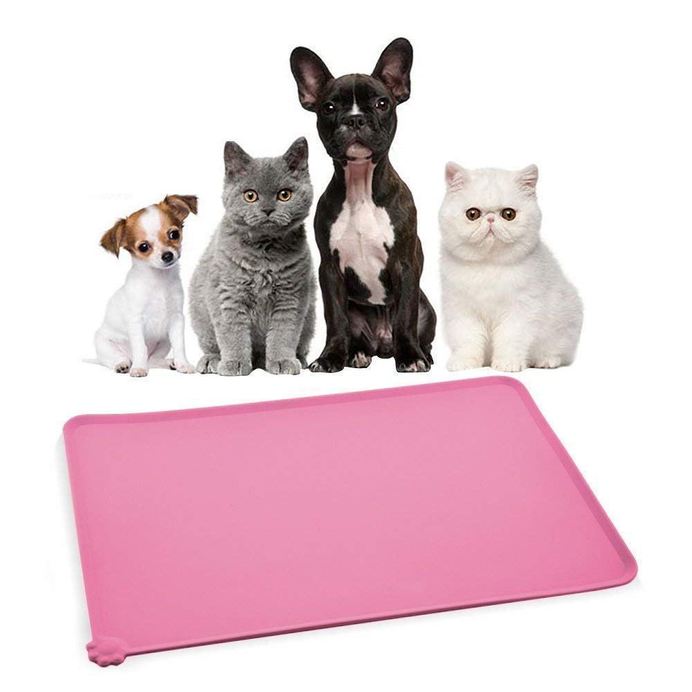 Himi Silicone Pet Food Mat 19''x12'' - FDA Silicone Waterproof Dog bowl mat, Non Slip Cat Food Mat Placemet Tray - Pet Bowl Feeding Mat - large Pet Travel Mat - Dog Seat Cover for Cars (Pink)