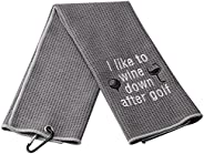 XYANFA Golf Wine Golf Towel Golfer Gift Funny Golf Gifts for Women Men I Like to Wine Down After Golf Embroide