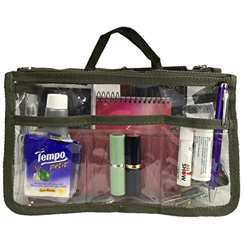 Clear Handbag Organizer See Through Cosmetic Badget Insert Purse Organizer Transparent Travel Pouch Liner Shaving Toiletry Bag with handle, Dk (Large Dk Green)
