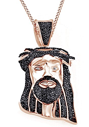 Round Cut Black Cubic Zirconia Jesus Head Hip Hop Pendant in 14k Rose Gold Over Sterling Silver (0.9 Cttw) by AFFY