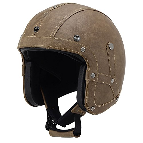 Woljay Leather Half Helmet Motorcycle Biker Cruiser Scooter Touring Helmet