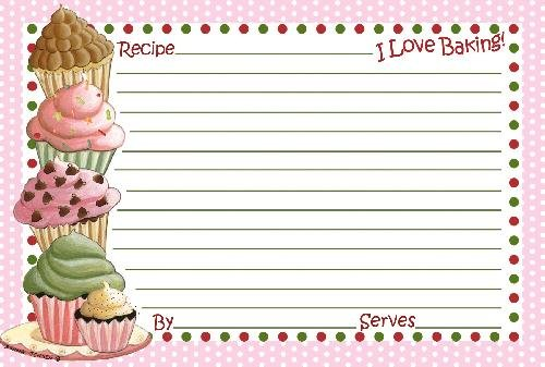 4x6 Cupcake Recipe Index Cards Blank White and Pink 18 (Soy Cake Recipe)