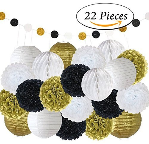 Pom Poms Decoration Kit 22PC Tissue Craft Party Paper Supplies Flowers Lanterns Honeycomb Balls Garland For Birthday Black Gold Party Great Gatsby Hollywood Glam Flores de Papel Decoracion - PPD8