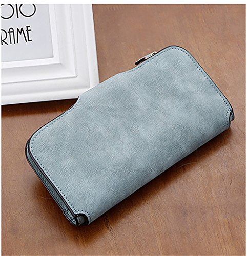 Small LIZHIGU Card Purse 6983c Green Clutch Women Leather Envelope Simple Wallet Holder qZ08aq