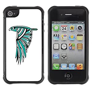 Hybrid Anti-Shock Defend Case for Apple iPhone 4 4S / Beautiful Owl Colorful