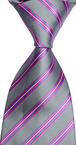 Mr.ZHANG New Classic Striped Grey Pink JACQUARD WOVEN Silk Men's Tie Necktie