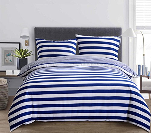 Luxury Hotel Quality 3-Piece Double Brushed 1800 Series Microfiber Reversible Duvet Cover Set with 2 Pillow Shams - Full / Queen, Navy and White Stripe by Exclusivo Mezcla (Duvet White Blue)