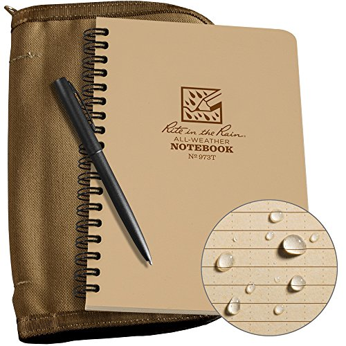 Rite in the Rain cuaderno de anillas resistente a la intemperie, (773B-KIT), bronceado (Tan Cover/Tan Notebook), 4-5/8' x 7'