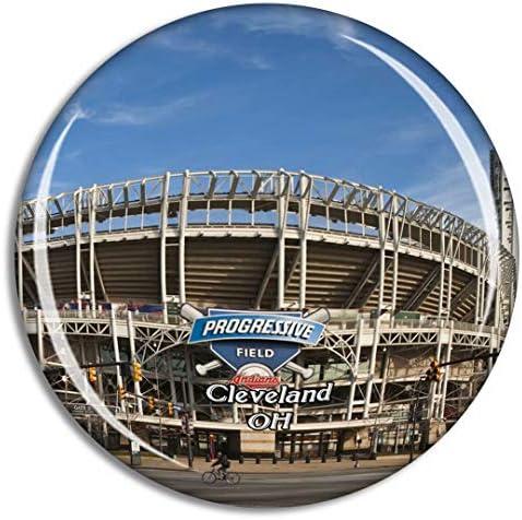クリーブランドプログレッシブフィールドオハイオ州米国冷蔵庫マグネット3Dクリスタルガラス観光都市旅行お土産コレクションギフト強い冷蔵庫ステッカー