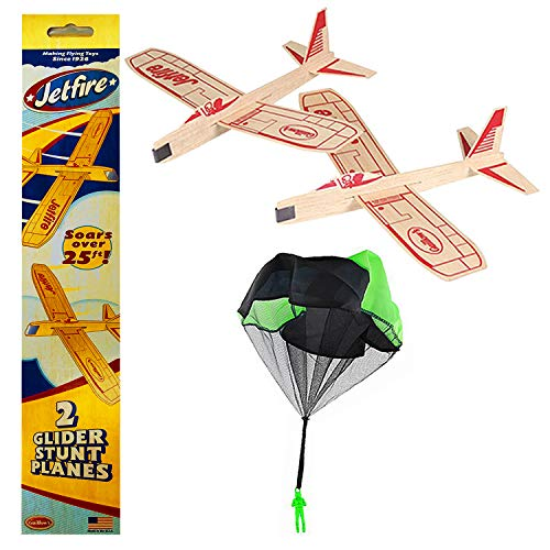 - Balsa Wood Airplane Glider with Parachute Man - Jetfire Twin Pack Party Set of 3