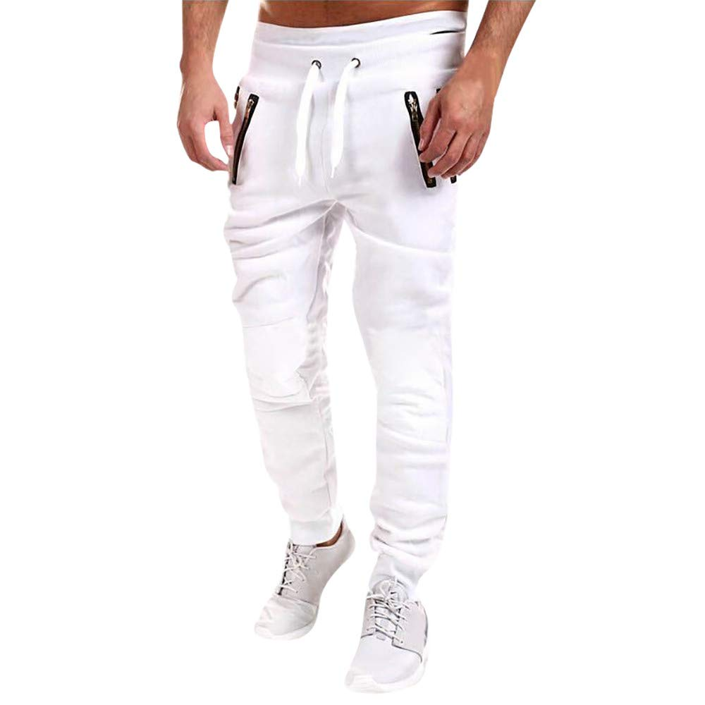 Spbamboo Mens Sweatpant Clearance Zipper Patchwork Cotton Casual Drawstring Pant