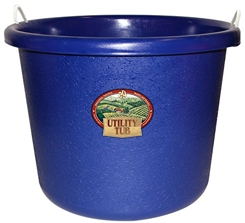Horse Feed Storage - Emsco Group 2656 Utility Tub-17.5 Gallon Bucket-for Maintenance Cleaning Growing, Cobalt Blue