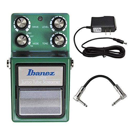 (Ibanez TS9DX Turbo Tube Screamer With ACE PP9V Pig Power 9V AC 1000mA Power Supply And Strukture S6P48 R-Angle Patch Cable)
