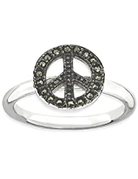 IceCarats® Designer Jewelry Sterling Silver Stackable Expressions Marcasite Peace Sign Ring