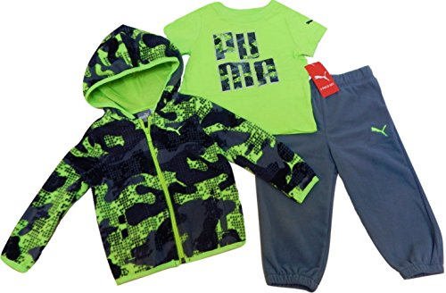 Puma Kids Baby Toddler Boy's Three Piece Set Hoodie or Vest, T-Shirt, Pants Sets (18 Month, Hoodie Set - Grey/Green) -