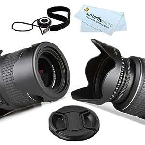 58MM Reversible Flower Lens Hood + Center Pinch Lens Cap + Lens Cap Keeper + More For Canon EOS 5D Mark III, EOS-1D X, EOS 6D, EOS 7D, EOS 60D, EOS 70D, T5i, T4i, SL1, T3i, T3, EOS M DSLR Camera