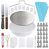 Cake Decorating Supplies Set,Cake Turntable and 10 inch Cake Board,2 Icing Spatula 3 Cake Scrapers,Cake Brush,Cake Flower Lifter,Cake Pen,3 Pastry Bags 24 Stainless Icing Tip 6 Piping Tip Couplers