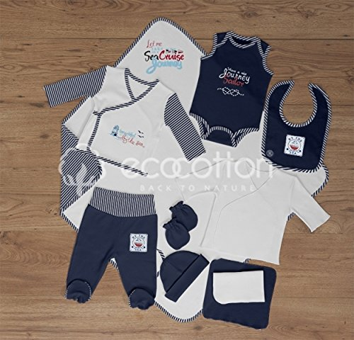 100% Organic Cotton - Newborn Baby Layette Set - Sailor Collection by Black Rose Organic