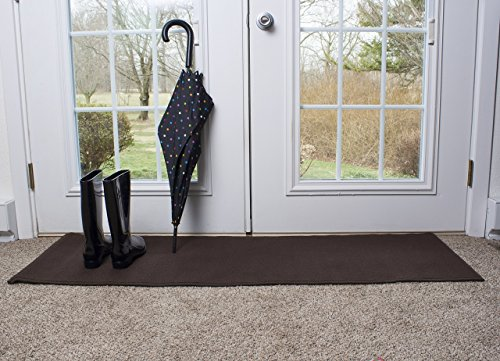 Ritz Accent Door Rug Runner with Non-Slip Latex Backing, 20-Inch by 60-Inch Kitchen & Bathroom Runner Rug, Chocolate Brown -