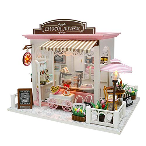 NATFUR DIY Miniature Dolls House Wooden Kit LED Christmas Birthday Gift Assemble