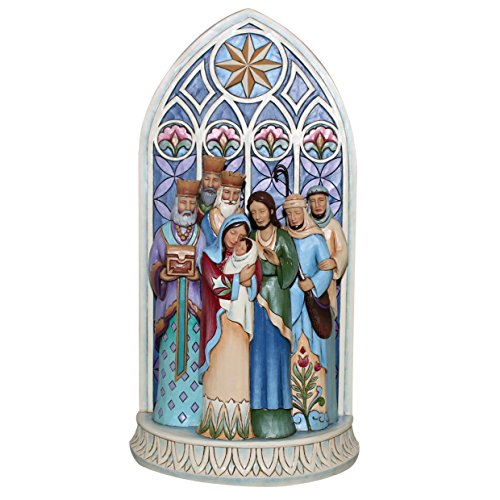 Jim Shore for Enesco Heartwood Creek Holy Family by Cathedral Window Figurine, 11.3