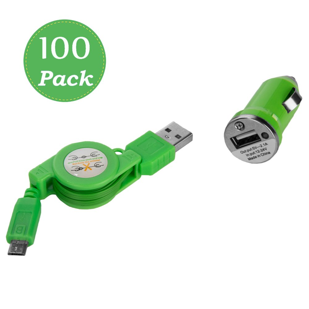 Mini Smart USB car Charger Adapter with Micro USB cord General Use USB 3.0 2.1A for Major Mobil Device -100 Pieces(Green)