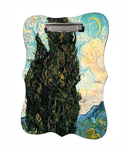 Vincent Van Gogh's Cypresses - Jacks Outlet TM - Benelux Shape 2-Sided Hardboard - Outlet In Cypress