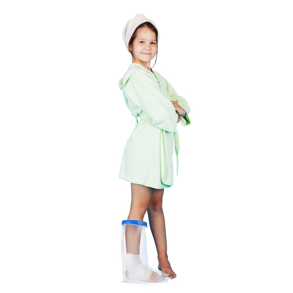 Kids Leg Cast Cover with Waterproof Seal Protection. Keep Casts & Bandages Totally Dry for Shower, Bathing Or Swimming. Heavy Duty Vinyl is Durable Yet Lightweight and Reusable. (Kids Leg Half)