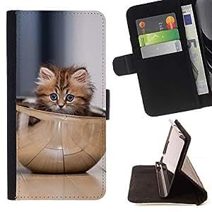 Momo Phone Case / Flip Funda de Cuero Case Cover - Gatito lindo Tazón;;;;;;;; - HTC Desire 626