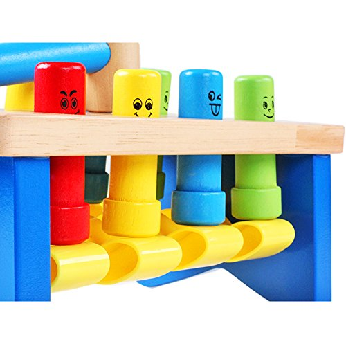QZM Deluxe Pounding Bench Wooden Toy With Mallet Early Educational Games for Toddlers Kids and Ages 2 years and up by QZM woden toys (Image #2)