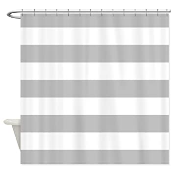 Grey White Striped Shower Curtain. CafePress  Grey and white stripe Shower Curtain Decorative Fabric Amazon com