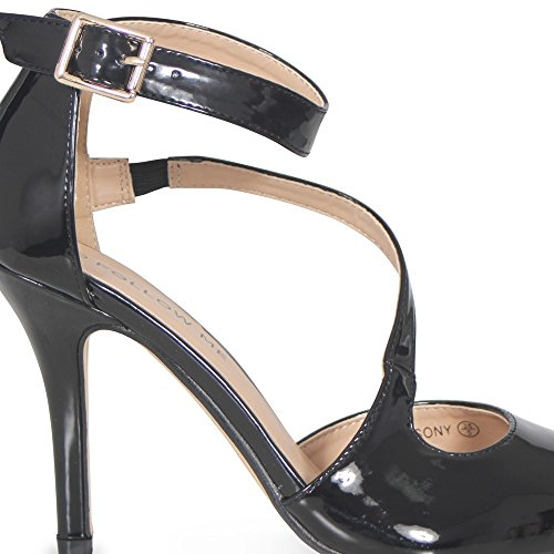 Sexy Spitzenpumps, High-Heels für Damen, spitz zulaufender Zehenbereich, mit Knöchelriemchen, Gesellschaftsschuhe, Partyschuhe Schwarz (glänzend)