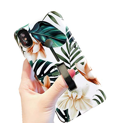 iPhone Xs/X Case Finger Grip,3D Embossed Green Leaves with White & Brown Flowers Pattern Design Rugged Shockproof Slim Fit Dual Layer Finger Ring Loop Strap Case Finger Strap for iPhone Xs/X 5.8inch