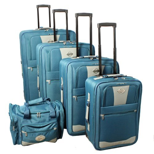 Transworld 5-piece Expandable Wheeled Upright Luggage Set - (5 Piece Expandable Luggage Set)
