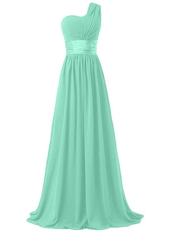 ASVOGUE Mujer Maxi Vestido Elegante Solo Hombro para Damas de Honor Color Sólido: Amazon.es: Ropa y accesorios