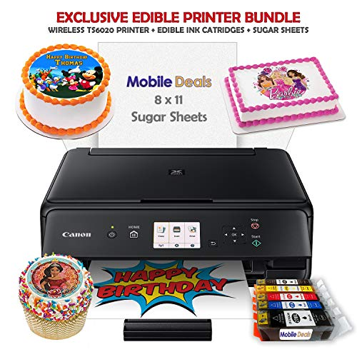 Mobile Deals Edible Birthday Cake Topper and Tasty Treats Image Printer Bundle - Includes Canon Wireless Printer, Edible Ink Cartridges and Sugar Sheets (Best Edible Ink Printer)