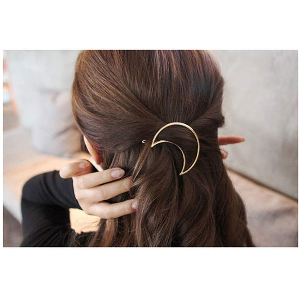 Romote 8pcs Mode Creux g/éom/étrique des Cheveux fermoirs m/étalliques Cheveux Barrettes /él/égants Pins Cheveux Lune Triangle Cercle Bow Clips Cheveux pour Les Femmes Filles C