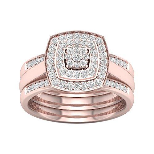 Tdw Wedding Ring Set (De Couer 10KT Rose Gold 3/8ct TDW Diamond Cluster Halo Ring (I-J,I2))