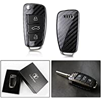 LUXURY REAL CARBON FIBER KEY PROTECTIVE CASE COVER FOR AUDI CAR FOB WITH RETRACTABLE KEY