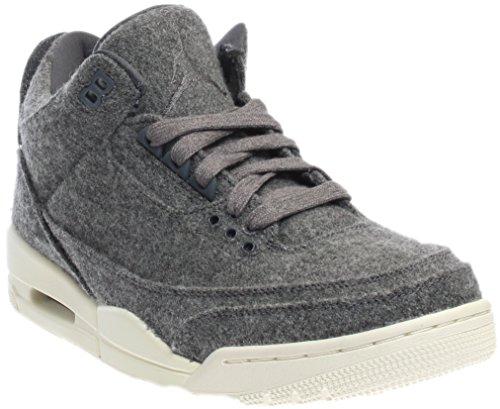 Jordan Nike Men's Air 3 Retro Wool Basketball Shoe Dark Grey / Dark Grey-sail