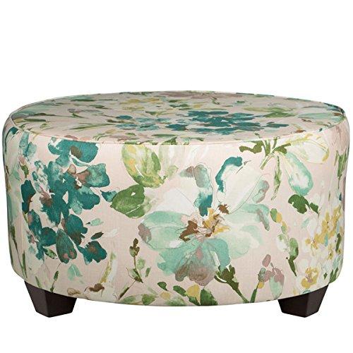 [Skyline Furniture Blue/Green Linen Round Cocktail Ottoman] (Skyline Furniture Leather Tufted Bed)