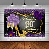 60th Birthday Backdrops for Adult Women Party Glitter Purple Dots Rose Champagne Glass Balloons Golden Heels Party Background