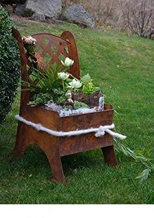 Metall Stuhl Edelrost Garten Deko Idee Zum Beflanzen Oder