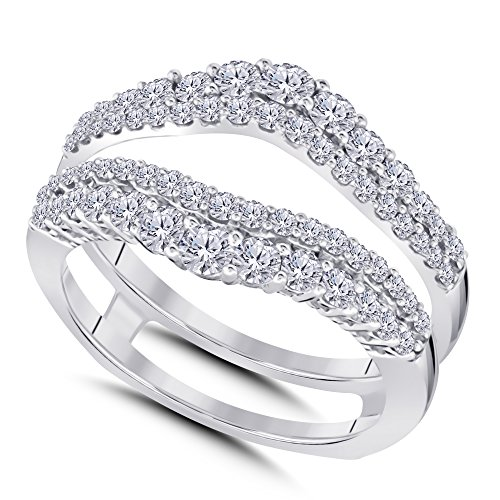 Silver Gems Factory 14k White Gold Plated Double Wedding Ring Guard Enhancer with Cubic Zirconia