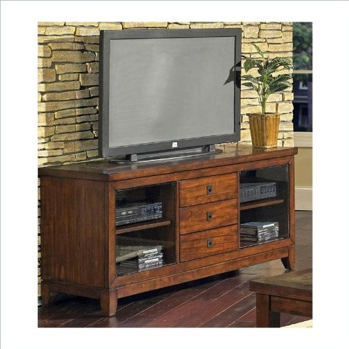 Davenport Hardwood & Veneer Cherry TV Stand with Slate - Pedestal Inlay