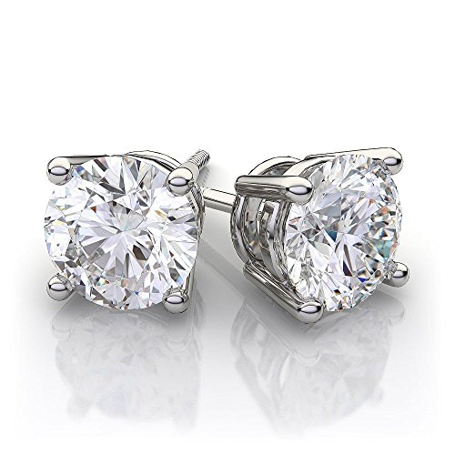 Charles and Colvard 6.0mm Round Moissanite Screw Back Prong Set solid 14K White Gold Stud Earrings by knr