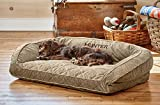 Orvis Deep Dish Dog Bed With Quilted Sleep Surface / Large Dogs Up To 60-120 Lbs, Brown Tweed