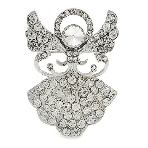 Avalaya Clear Crystal Angel Brooch in Rhodium Plating - 45mm L