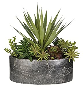 House of Silk Flowers Artificial Succulent Garden in Grey Stone Oval